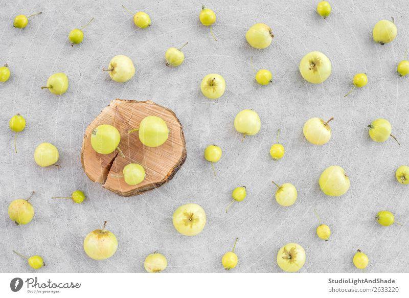 Wilde Äpfel und Apfelbaumstumpf auf Betonuntergrund Frucht Sommer Garten Gartenarbeit Natur Herbst Baum Holz natürlich wild gelb grau grün Farbe Obstgarten