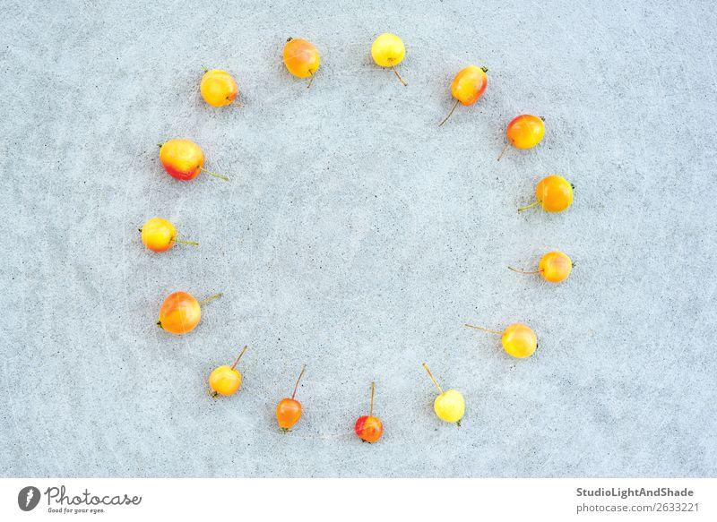 Kreis der Wildkirschäpfel auf Betonuntergrund Frucht Apfel Sommer Sonne Garten Uhr Gartenarbeit Natur Herbst Baum hell klein natürlich wild gelb grau rot Farbe