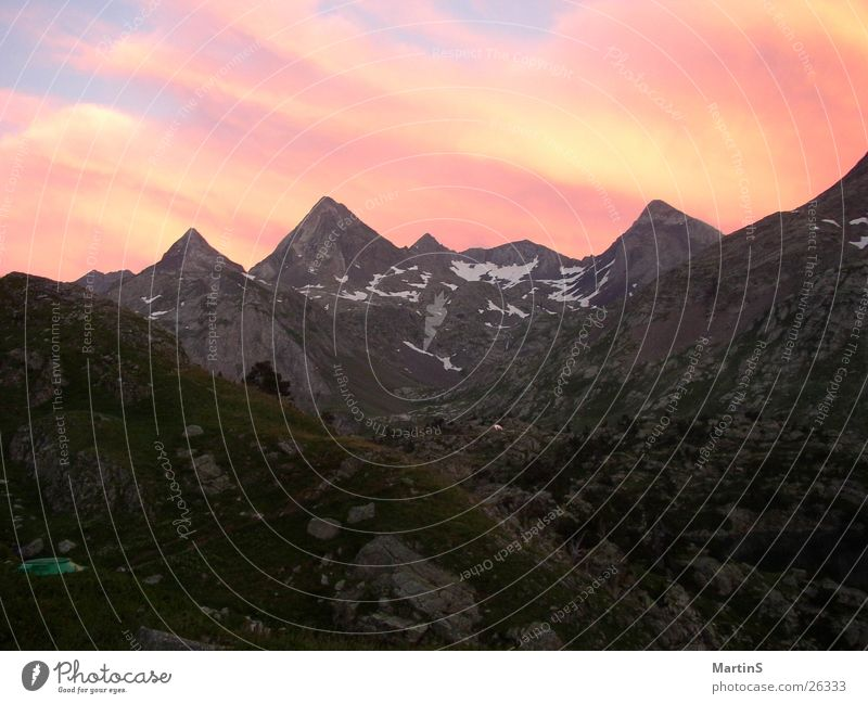 Sonnenuntergang Himmel Berge u. Gebirge Gipfel Pyrenäen