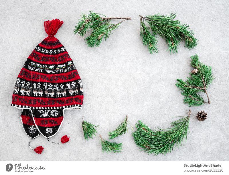 Roter Winterhut und grüne Kiefernäste Stil Dekoration & Verzierung Weihnachten & Advent Natur Pflanze Wärme Baum Mode Bekleidung Hut Beton Ornament einfach