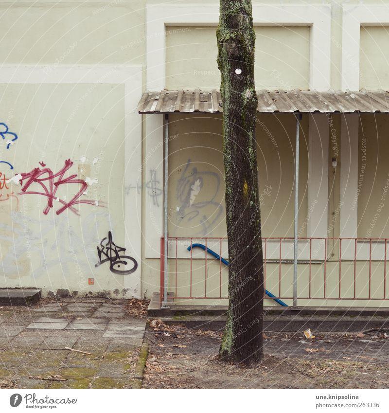 [ ] [ I ] [ Stadt Baum Haus Wand Graffiti Mauer Gebäude Fassade Treppe Schriftzeichen kaputt trist Baumstamm eckig Industrieanlage