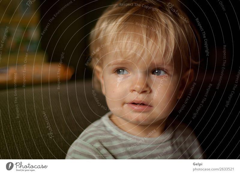Adorabla Baby mit einem Jahr zu Hause Freude Glück schön Leben Spielen Wohnzimmer Kind Kleinkind Junge Familie & Verwandtschaft Kindheit Mund blond Lächeln