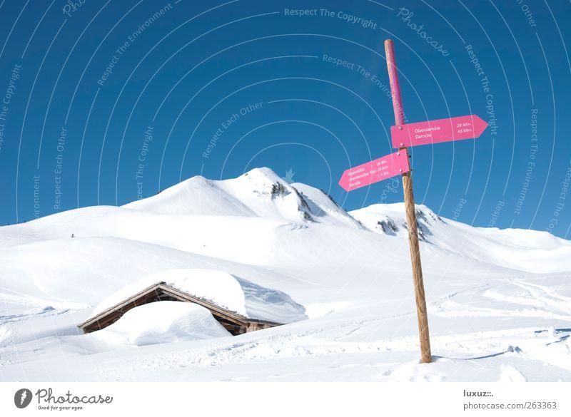 Skiurlaub Natur Ferien & Urlaub & Reisen Winter ruhig Schnee Berge u. Gebirge Freiheit Zufriedenheit Schilder & Markierungen wandern Ausflug Tourismus