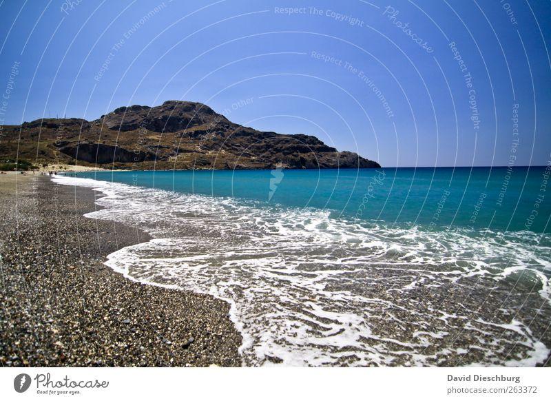 Ich will Urlaub! Natur blau Wasser Ferien & Urlaub & Reisen weiß Sommer Meer Strand ruhig Erholung Landschaft Berge u. Gebirge Küste Horizont Wellen Insel