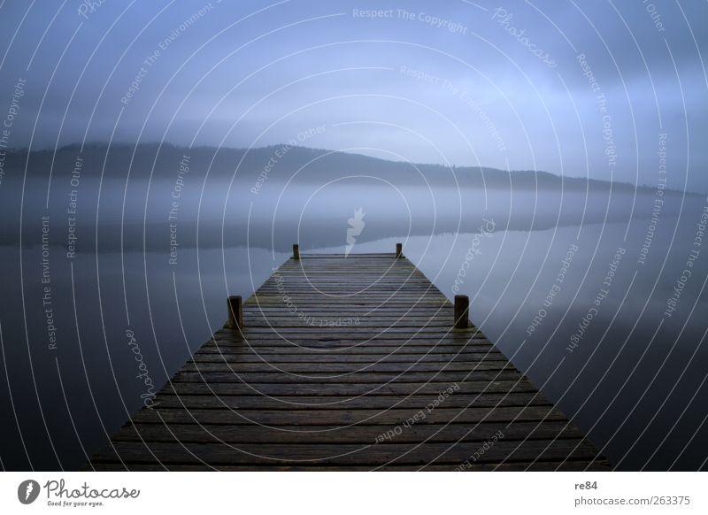 Ein ganz normaler Morgen Natur blau Wasser Ferien & Urlaub & Reisen ruhig Erholung Berge u. Gebirge Holz See träumen Horizont Zufriedenheit Nebel Abenteuer
