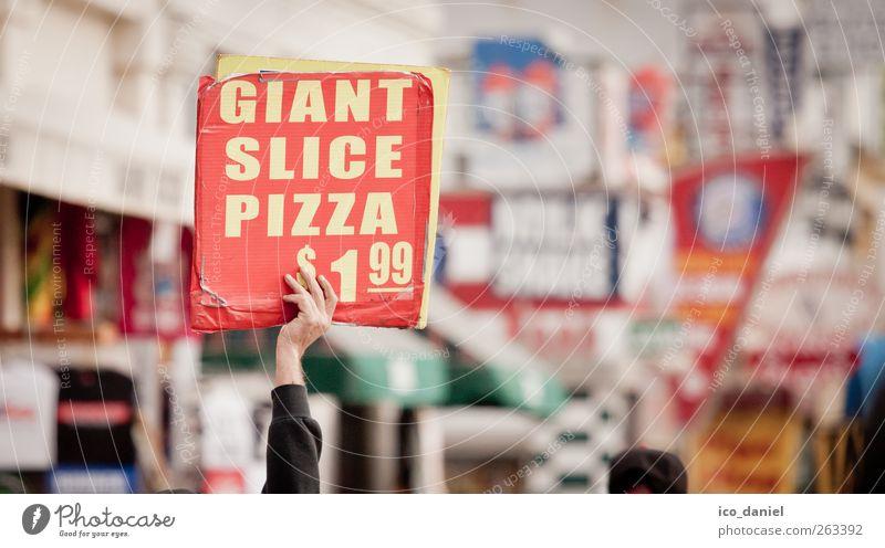 Handwerbung rot gelb Leben Ernährung Lebensmittel Stimmung Arbeit & Erwerbstätigkeit Arme kaufen authentisch Geld USA Werbung Dienstleistungsgewerbe Handel