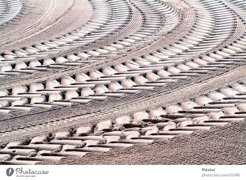 Spuren Sand Perspektive Frankreich Kurve Fahrzeug Dürre Traktor