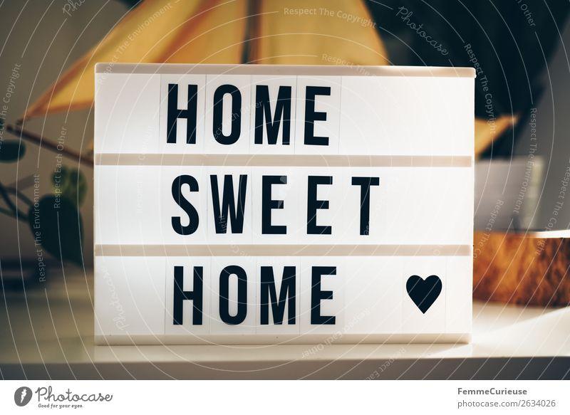 """Lightbox with the words """"home sweet home"""" Schriftzeichen Häusliches Leben Redewendung wortgruppe Herz Leuchtkasten Lichtbox Sideboard Dekoration & Verzierung"""