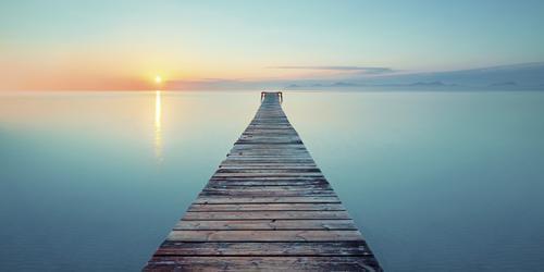 Sonnenuntergang mit Steg Himmel Ferien & Urlaub & Reisen Sommer blau Wasser Landschaft Meer Erholung ruhig Freude Strand Küste See Schwimmen & Baden Ausflug