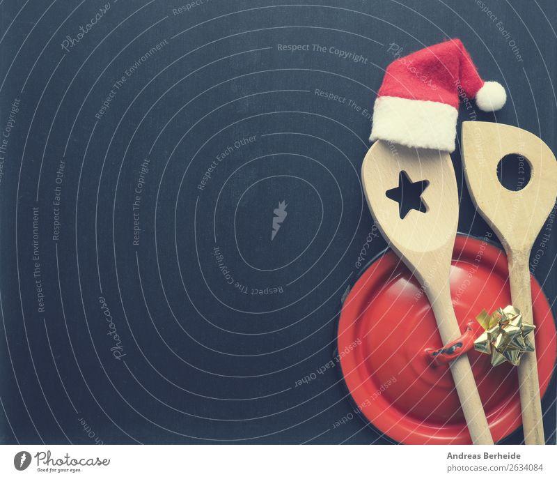 In der Weihnachtsküche Festessen Topf Löffel Stil Winter Restaurant Weihnachten & Advent Tafel Hut Mütze Kochlöffel Schleife Tradition Hintergrundbild