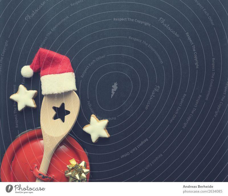 Holzlöffel mit Nikolausmütze Süßwaren Festessen Topf Löffel Design Winter Restaurant Weihnachten & Advent Tafel Kochlöffel Dekoration & Verzierung Schleife