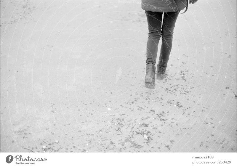 Am Strand Mensch Ferien & Urlaub & Reisen Jugendliche Wasser Junge Frau Meer ruhig Winter Leben feminin Küste Lifestyle Freiheit Schwimmen & Baden Sand