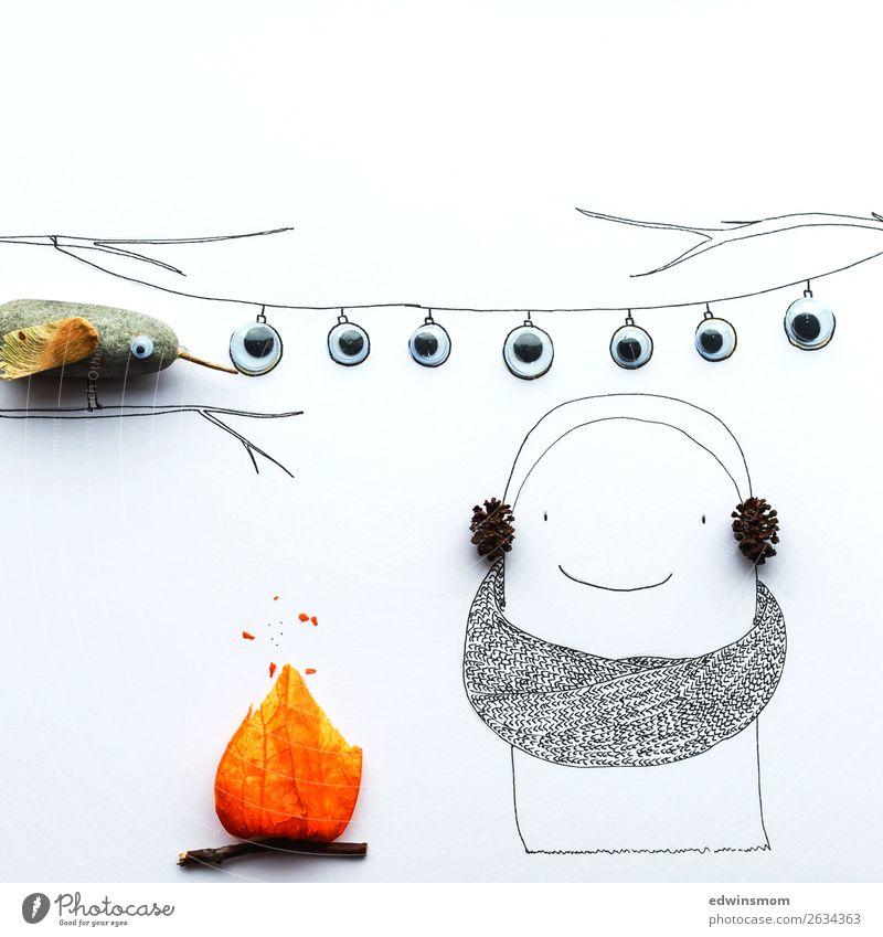 Little ghost Natur Pflanze weiß Herbst Blüte Glück klein Stein orange Zusammensein grau Freizeit & Hobby Dekoration & Verzierung leuchten Lächeln stehen