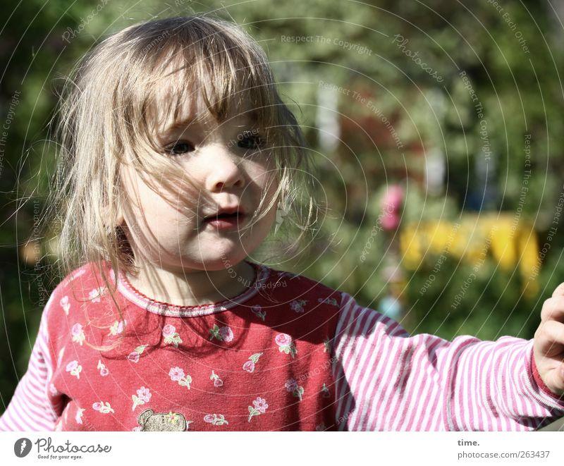 Welterkunderin Mensch Kind Natur Mädchen Gesicht natürlich feminin Garten Haare & Frisuren Kopf authentisch Arme beobachten Schönes Wetter Frieden Vertrauen