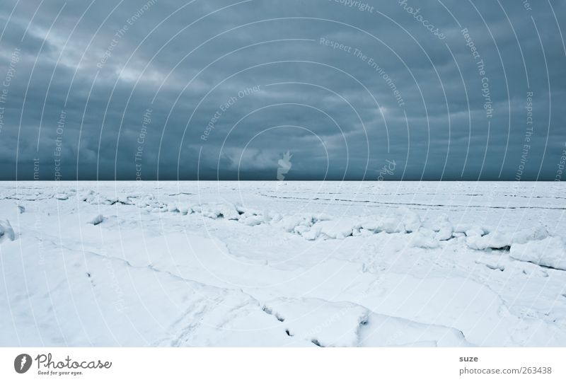 Eiswüste Umwelt Natur Landschaft Urelemente Himmel Wolken Horizont Winter Klima Sturm Frost Schnee Küste Strand Ostsee Meer Insel außergewöhnlich dunkel einfach