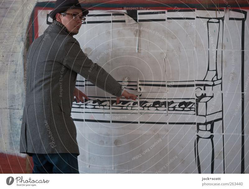 Luftklavier (Swing) Mensch Mann Freude Erwachsene Wand Graffiti lustig Mauer Spielen Dekoration & Verzierung Musik Fröhlichkeit Kreativität Brille Stoff Hut