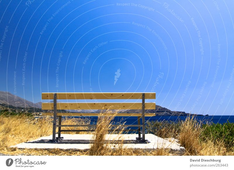 Platz in der ersten Reihe blau Wasser Ferien & Urlaub & Reisen Meer ruhig Erholung Ferne Landschaft Gras Holz Freiheit Küste braun Reisefotografie Insel