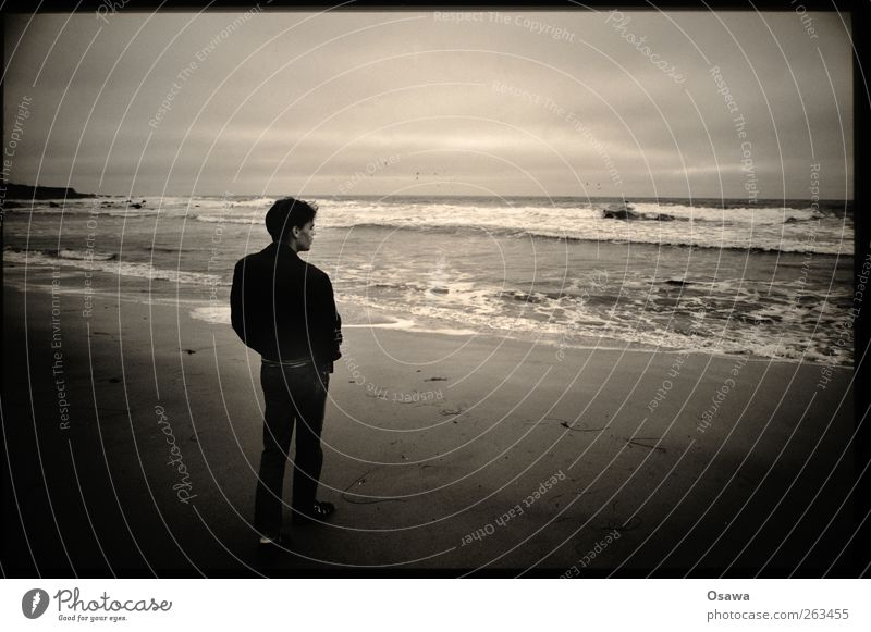 Der junge Mann und das Meer Himmel Jugendliche Wasser Strand Wolken Einsamkeit Erwachsene Ferne Umwelt Küste träumen Horizont Wind Wellen