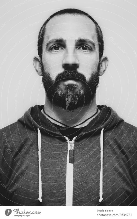 Porträt eines jungen bärtigen Mannes mit Sweatshirt. schön Haare & Frisuren Gesicht maskulin Junger Mann Jugendliche Erwachsene Kopf 1 Mensch 30-45 Jahre Kunst