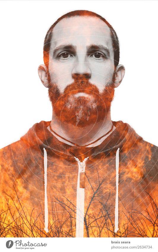 Mensch Natur Jugendliche Mann schön Junger Mann Wald Gesundheit Gesicht Erwachsene Umwelt natürlich Gefühle Gesundheitswesen Business Kunst