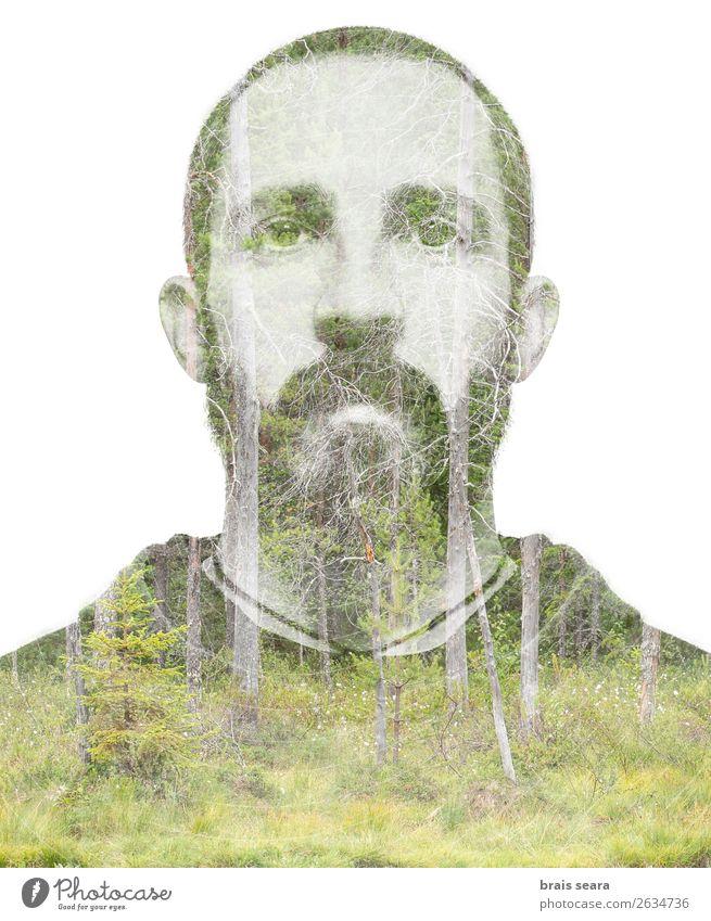 Mensch und Wald Haare & Frisuren Gesundheitswesen Abenteuer Freiheit Wissenschaften maskulin Junger Mann Jugendliche Erwachsene Gesicht 1 30-45 Jahre Kunst