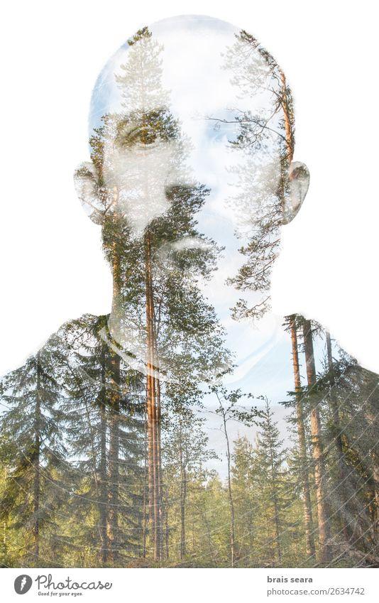 Mensch Ferien & Urlaub & Reisen Natur Jugendliche Mann grün Junger Mann Baum Wald Berge u. Gebirge Gesundheit Gesicht Lifestyle Erwachsene Umwelt natürlich