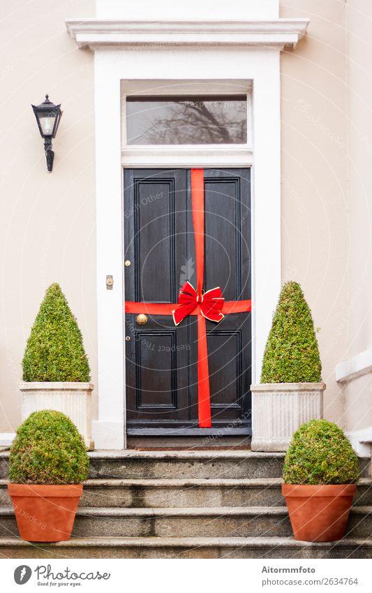 Neues Haus fertig Reichtum Traumhaus Umzug (Wohnungswechsel) Erfolg Business Fassade Tür Krawatte Schnur verkaufen groß neu Idee Weihnachtsgeschenk Entwurf