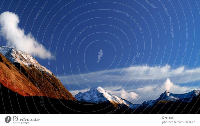 Schottische Alpen Himmel Natur blau weiß Ferien & Urlaub & Reisen Wolken Ferne Erholung Landschaft kalt Herbst Schnee Berge u. Gebirge Luft braun frisch