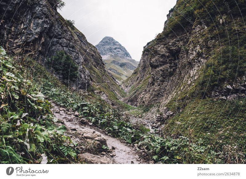 Aufstieg zur Kemptner Hütte Berge u. Gebirge wandern Natur Landschaft schlechtes Wetter Alpen Gipfel gigantisch natürlich grün Abenteuer Freizeit & Hobby Idylle