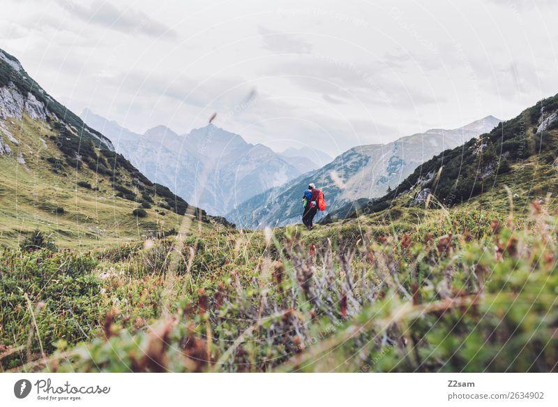 Abstieg nach Holzgau | Alpenüberquerung Ferien & Urlaub & Reisen Abenteuer wandern Junge Frau Jugendliche Natur Landschaft Schönes Wetter Gras Wiese