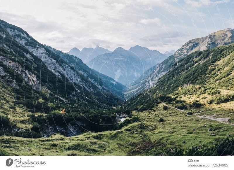 Abstieg nach Holzau Ferien & Urlaub & Reisen Abenteuer wandern Natur Landschaft Wiese Alpen Berge u. Gebirge Ferne natürlich blau grün Einsamkeit Erholung