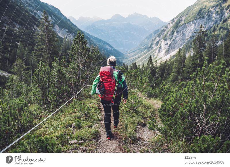 Junge Frau auf Alpenüberquerung Ferien & Urlaub & Reisen Abenteuer Freiheit wandern Jugendliche 18-30 Jahre Erwachsene Natur Landschaft Schönes Wetter Sträucher
