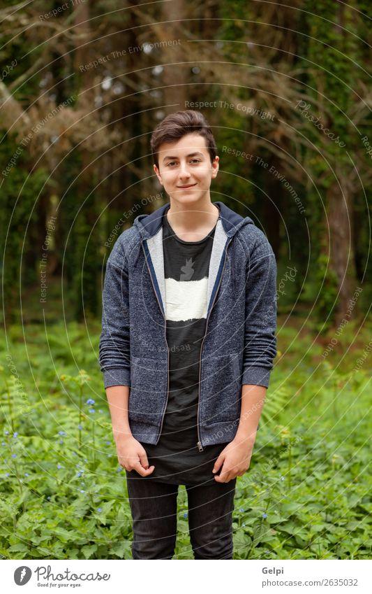 Attraktiver Teenager-Typ in einem Park Lifestyle Stil Glück schön Haare & Frisuren Gesicht Sommer Mensch Junge Mann Erwachsene Jugendliche Natur Pflanze Mode