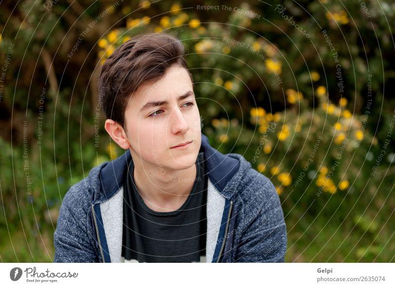 Attraktiver Teenager-Typ in einem Park Lifestyle Stil Glück schön Haare & Frisuren Gesicht Sommer Mensch Junge Mann Erwachsene Jugendliche Natur Pflanze Blume