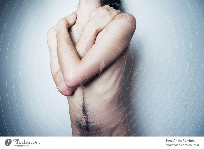 durch.sichtig. Mensch Jugendliche Hand Körper Arme Haut maskulin Behaarung festhalten dünn Sehnsucht Junger Mann Schmerz Bauch kopflos Nackte Haut