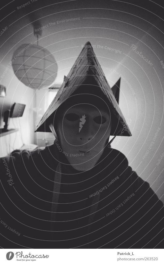 Do you have a question? Mensch Kopf 1 Maske Hut böse geheimnisvoll bedrohlich dunkel anonym Schwarzweißfoto Innenaufnahme Textfreiraum unten Schatten Kontrast