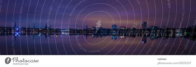 Panorama der Hamburg skyline bei Nacht Alster Skyline Himmel Reflexion & Spiegelung Außenaufnahme Wasser Menschenleer Abend Langzeitbelichtung See
