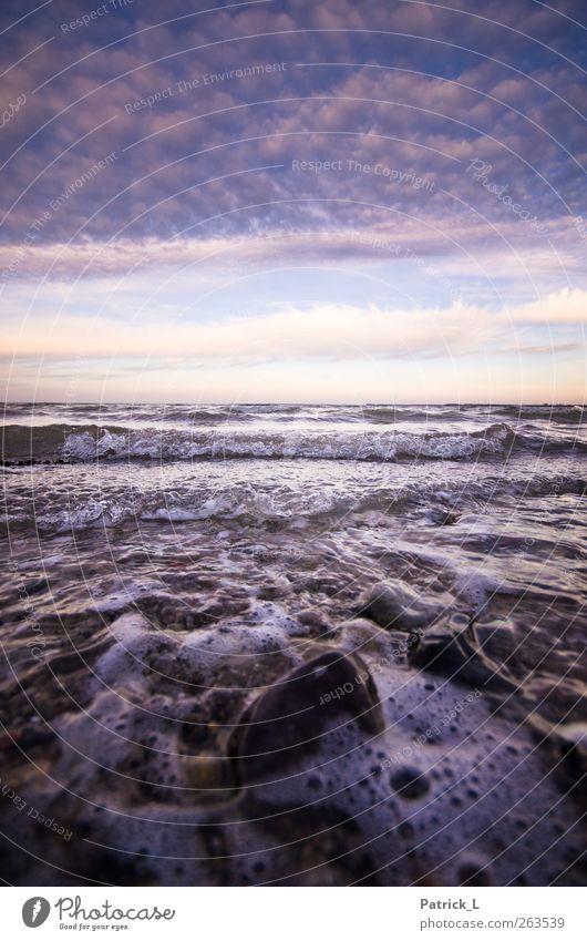 Wer braucht schon blaues, klares Wasser? Ostsee ist angesagt! Landschaft Urelemente Luft Himmel Wolken Horizont Meer Dynamik Strand Ferne Wellen Stein