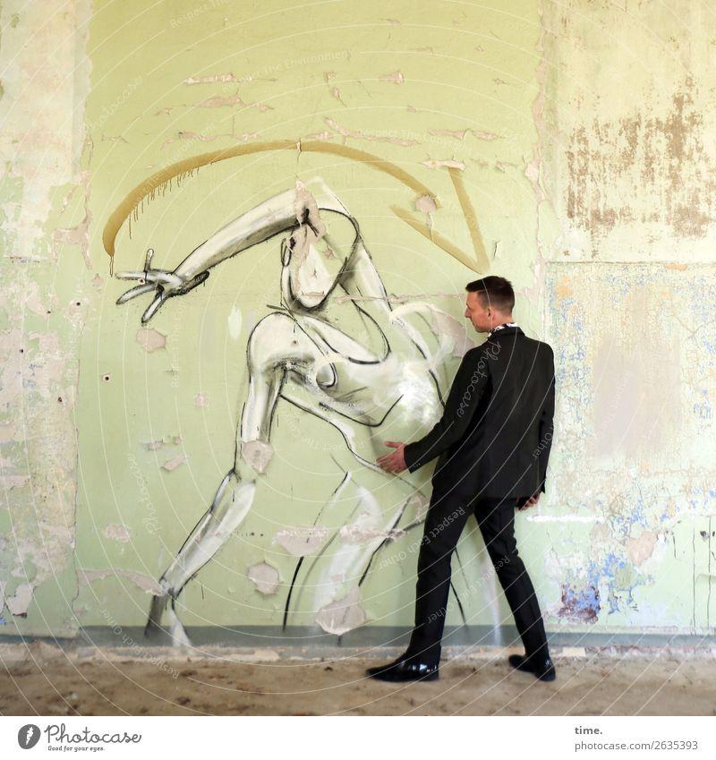 Tanzkurs maskulin Mann Erwachsene 1 Mensch Kunst Künstler Gemälde Schauspieler Ruine Mauer Wand lost places Anzug brünett kurzhaarig Graffiti Linie Pfeil
