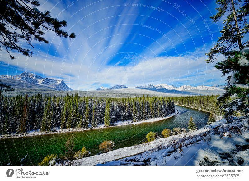 #Kanada/ Winterträume Umwelt Natur Landschaft Pflanze Urelemente Wasser Himmel Wolken Baum Wildpflanze Wald Berge u. Gebirge Schneebedeckte Gipfel Flussufer