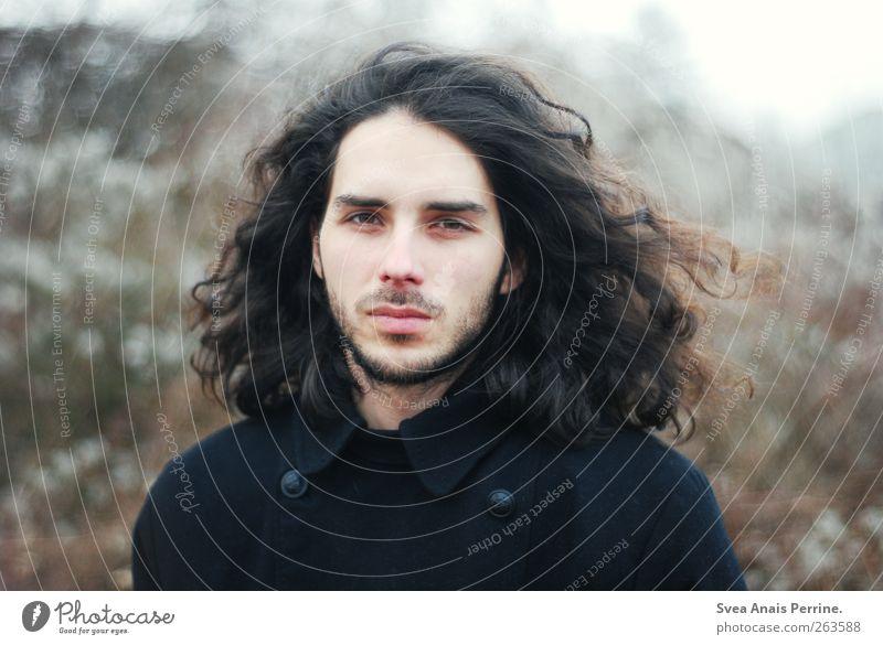 . maskulin Junger Mann Jugendliche Erwachsene Haare & Frisuren Gesicht 1 Mensch 18-30 Jahre Herbst Park Jacke brünett langhaarig Locken natürlich schön Wind