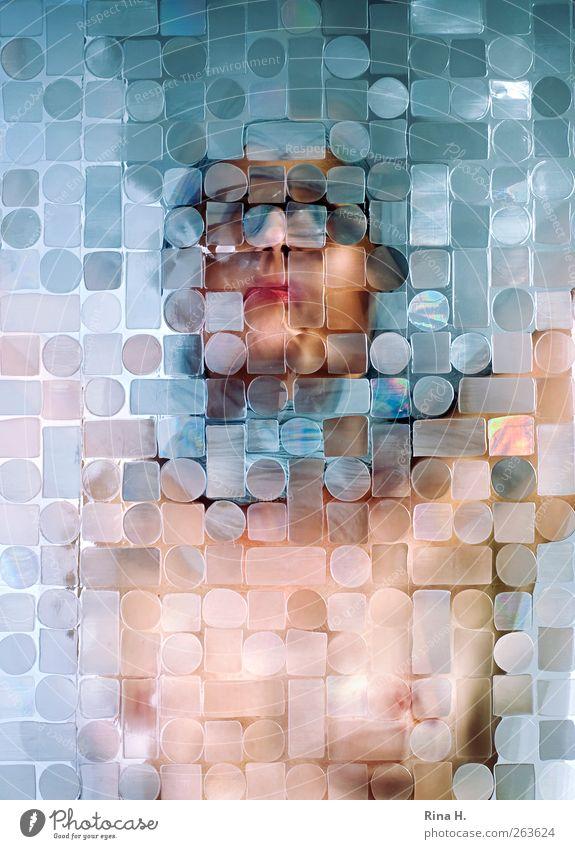 Facetten II Mensch Frau blau Gesicht Erwachsene feminin glänzend außergewöhnlich Brust durchsichtig bedeckt verdeckt Transparente