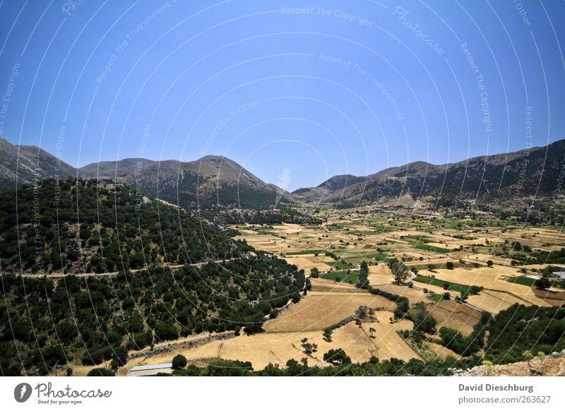 Weites Land Ferien & Urlaub & Reisen Ferne Sommerurlaub Landschaft Wolkenloser Himmel Schönes Wetter Wald Hügel Berge u. Gebirge Gipfel blau braun Kreta Feld