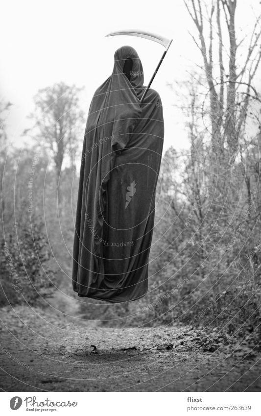 Der Bettlaken-Tod androgyn Körper 1 Mensch Wald Angst gefährlich Hass Todesangst Schweben Sensenmann Umhang Schwarzweißfoto Surrealismus Illusion Erscheinung