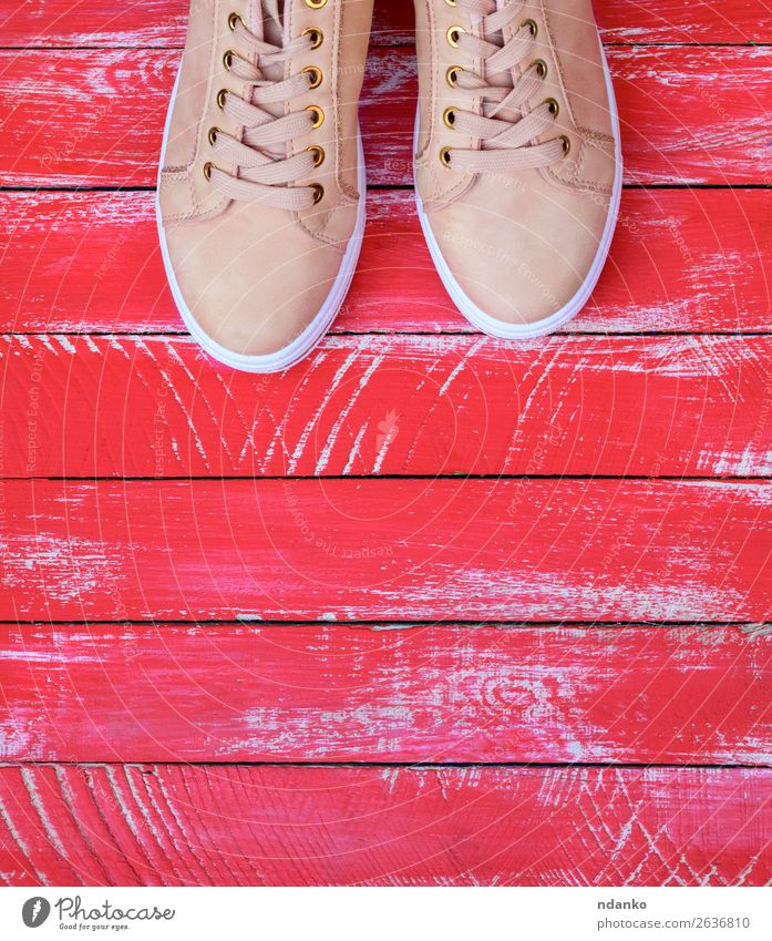 rosa Paar weibliche Leder-Sneakers mit Schnürung Lifestyle Stil Design Sport Joggen Mode Bekleidung Accessoire Schuhe Turnschuh Holz Fitness trendy modern neu