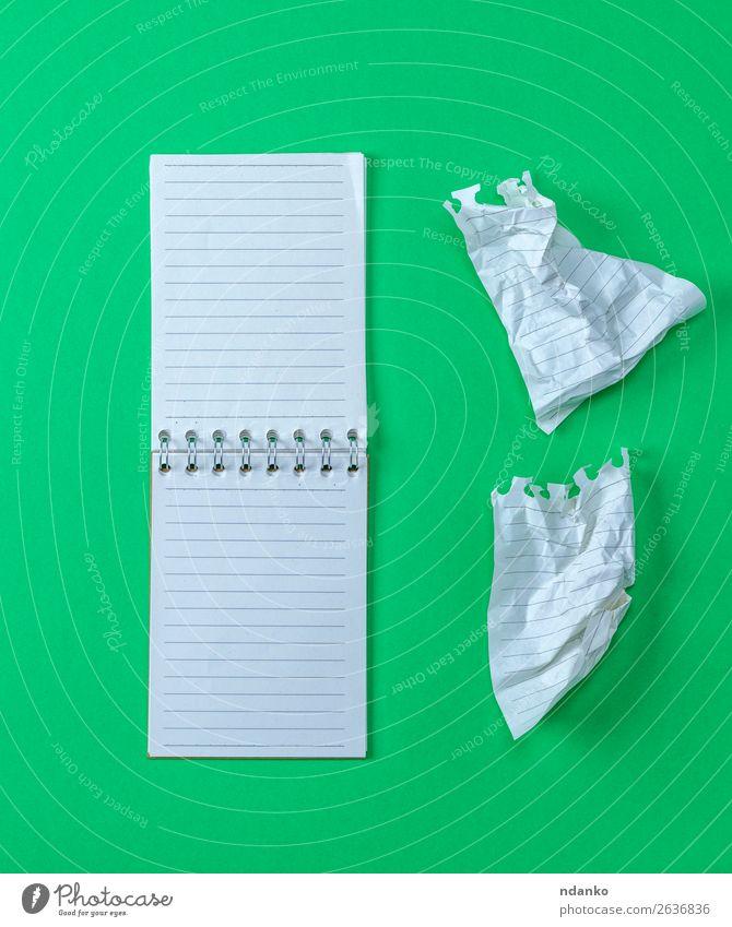 offenes kleines leeres Notizbuch mit weißen Blättern Schule Büro Business Buch Papier Zettel neu Sauberkeit grün Farbe Notebook Unterlage Hintergrund blanko
