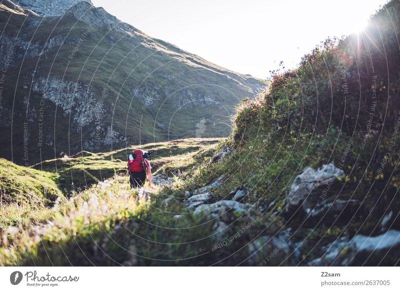 Aufstieg zur Memminger Hütte Lifestyle Ferien & Urlaub & Reisen Abenteuer wandern Junge Frau Jugendliche 18-30 Jahre Erwachsene Natur Landschaft Sonnenlicht