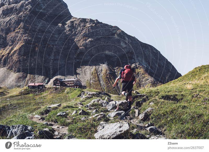 Aufstieg zur Memminger Hütte Ferien & Urlaub & Reisen Abenteuer wandern Junge Frau Jugendliche Rucksack Wanderschuhe gigantisch natürlich sportlich selbstbewußt