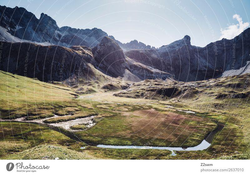 Blick Richtung Seevogel und Seescharte Ferien & Urlaub & Reisen Abenteuer wandern Natur Landschaft Sonne Sommer Schönes Wetter Alpen Berge u. Gebirge Bach