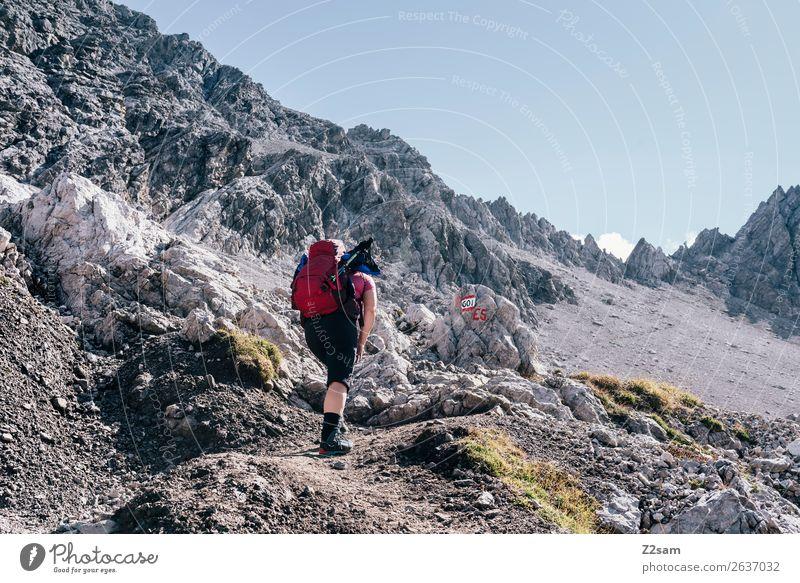 Alpenüberquerung   Seescharte E5 Himmel Natur Ferien & Urlaub & Reisen Jugendliche Junge Frau Sommer Landschaft Einsamkeit Berge u. Gebirge 18-30 Jahre